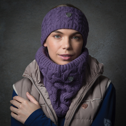Mauve Cable Knit Loop Scarf